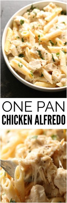 One Pot Cheesy Chicken Alfredo is an easy dish that's prepared in just ONE pan. The creamy sauce mixed with warm Alfredo pasta makes. Casserole Recipes, Pasta Recipes, Chicken Recipes, Dinner Recipes, Cooking Recipes, Hamburger Casserole, Recipe Pasta, Parmesan Recipes, Chicken Meals