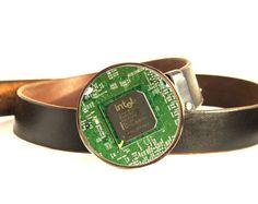 Men's Belt buckle  Big Geeky Belt buckle  Green by ReComputing, $32.00