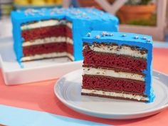 """Red, White and Blue Ice Cream Sandwich Cake (Red, White and BBQ) - Jeff Mauro & Jason Smith, """"Best Baker in America"""", Guest on """"The Kitchen"""" on the Food Network. Ice Cream Desserts, Frozen Desserts, Ice Cream Recipes, Just Desserts, Delicious Desserts, Frozen Treats, Sandwiches, Sandwich Cake, The Kitchen Food Network"""