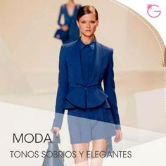 El azul marino es perfecto para vestirlo en la oficina #Moda Peplum Dress, Dresses, Fashion, The Office, Navy Blue, Blue Nails, Elegant, Vestidos, Moda