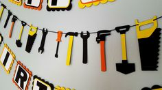 Tool party banner - fathers day banner - tools - boy bedroom decoration - boy birthday banner by Simplybannerlicious on Etsy https://www.etsy.com/listing/400106245/tool-party-banner-fathers-day-banner
