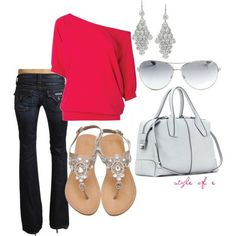 eppp cute!!! dark jeans, and cute red long sleeve shirt with long dangle earrings, cute white/silver sunglasses, sparkly shoes and a white bag. adorable!!!