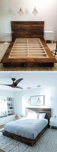 Pallet-Style Mattress Frame and Earthy Wooden Headboard