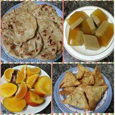 Iftari Spl #wheatpratta #agaragar #jaggery #flavoured #fruitsplatter #samosas