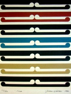 'Kura', multicoloured patterned screenprint by Gordon Walters, NZ. Blue, beige, black, red and white. 1982.
