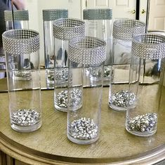 Set of 5 tall cylinder vases with beads. Each vase is beautifully decorated with rhinestone look mesh wrap wedding decor, shower decor – Wedding Centerpieces Elegant Centerpieces, Table Centerpieces, Bling Centerpiece, Centrepieces, Bridal Shower Decorations, Table Decorations, Silver Wedding Decorations, Graduation Decorations, Graduation Centerpiece