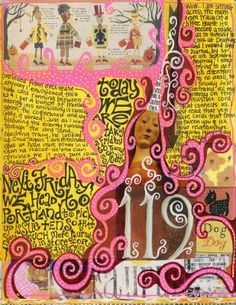 """This page has an incomplete collage border, with a marker line around the edge that completes it. This is a cool """"broken"""" border look that I like a lot. I also really like the strong color scheme and all the swirly doodles that make up the figure's hair."""