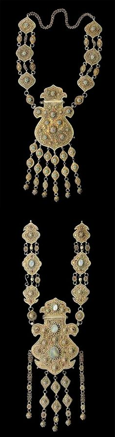 CHRITIES.  March 2005.  NY || Two Silver and Parcel Gilt Pectoral Plates.  BUKHARA, 19TH/20TH CENTURY