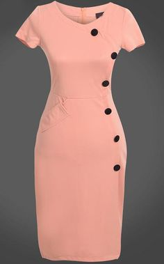 To find out about the Pink Short Sleeve Slim Buttons Bodycon Dress at SHEIN, part of our latest Dresses ready to shop online today! Elegant Dresses, Vintage Dresses, Casual Dresses, Short Dresses, Office Dresses For Women, Clothes For Women, Official Dresses, Dress Outfits, Fashion Outfits
