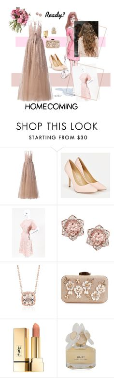 """""""On our way to homecoming👑"""" by trinitygabriella ❤ liked on Polyvore featuring GE, Elie Saab, JustFab, Valentino, Blue Nile and Marc by Marc Jacobs"""