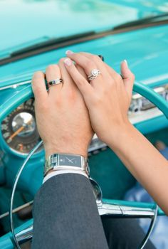 Ring photo in classic car