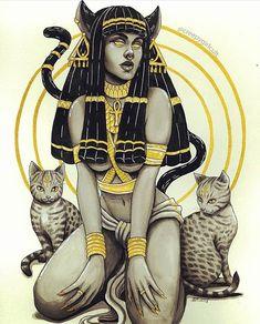 Bastet Goddess, Goddess Art, Isis Goddess, Egyptian Tattoo Sleeve, Egyptian Goddess Tattoo, Egyptian Mythology, Arte Obscura, Egypt Art, Ancient Egyptian Art