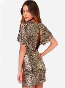 Gold Short Sleeve Split Back Glitzy Sequined Dress