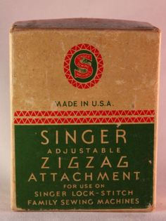 Vintage Singer Adjustable ZigZag Attachment part# 121706 Book and Box #Singer