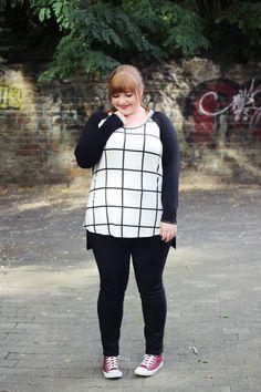 kathastrophal.de | Junarose Friends | Plus Size Outfit mit Gitterkaro-Druck / Grids