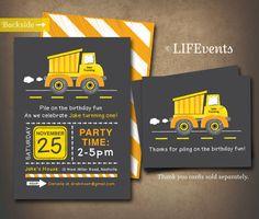 Construction Truck Digger Birthday Invitation by EasyInvites Blake