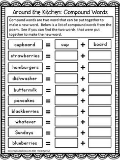 This compound word activity is part of a poem of the week activity pack. It comes with 4 original cross curricular poems and activities that are great for shared reading, word work, literacy centers and more! $