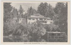 BRENTWOOD BAY, BC - Brenta Lodge over looking Brentwood Bay c. 1940s-1950s. Vancouver Island, 1940s, Victoria, History, Places, Painting, Outdoor, Vintage, Outdoors