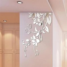 Silver *DC Acrylic Sunflower Round Mural Mirror Effect Wall Sticker Home Decal