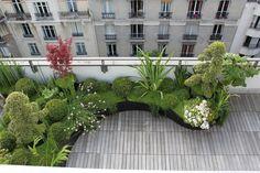 Une terrasse en bois aux lignes courbes, avec massifs d'arbustes verdoyants