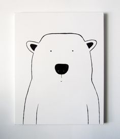 Modern Kids and Nursery Polar Bear Art Original Painting - 16