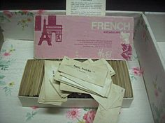 Vintage box of french word cards distressed by LittleBeachDesigns, $32.00