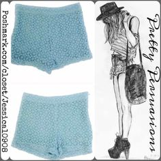 "Forever 21 Blue Lace Shorts Measurements taken in inches:  . Waist 21"" . Hips 30"" . Inseam 2"" . Rise 10"" Forever 21 Shorts"