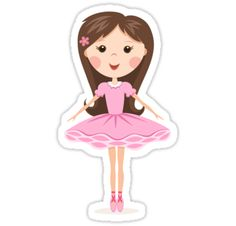 Cute ballerina in pink tutu. Fun stickers for kids from Redbubble.