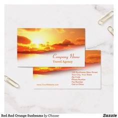 Red And Orange Sunbeams Business Card