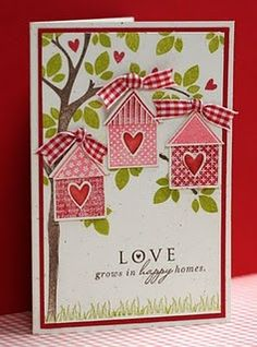 PTI Cardstock: Rustic Cream Bazzill Cardstock: Red PTI Stamps: Love Lives Here and Merry Little Christmas Tim Holtz Distress Ink by Ranger: Crushed Olive and Worn Lipstick PTI Ink: Dark Chocolate Stampin Up! Ink Real Red Ribbon from my stash New Home Cards, Valentine Love Cards, Bird Cards, Card Tags, Cute Cards, Pretty Cards, Creative Cards, Paper Cards, Anniversary Cards