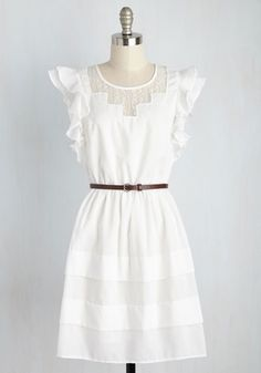 Pastoral Perspective Dress - White, Solid, Casual, A-line, Short Sleeves, Spring, Woven, Better, Mid-length, Boho, Americana