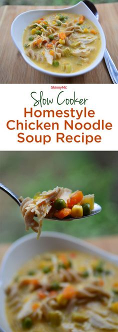 Your family will flip over this Slow Cooker Homestyle Chicken Noodle Soup recipe! #soup #cleaneating #skinnyms