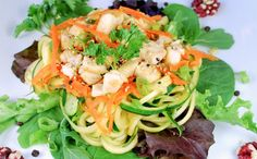 ASIAN CHICKEN &  NOODLE SALAD. This cold noodle salad is a great choice for a summer luncheon or brunch; with a mixture of textures and tastes that is easy to customize. #spiralized #weightloss #zoodles