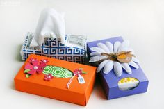 More Than a Card, Less Than a Gift Solution: DIY Pocket Tissue Boxes via www.craftsunleashed.com