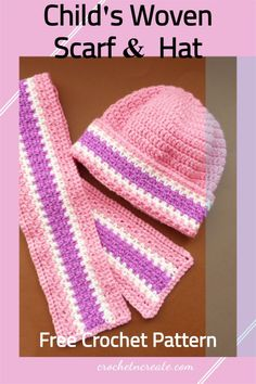This simple Child's hat and scarf set was designed for the beginner crocheter, if you want add a flower motif to brighten it. See it on crochetncreate All Free Crochet, Crochet For Kids, Single Crochet, Hat And Scarf Sets, Scarf Hat, Woven Scarves, Crochet Baby Clothes, Free Baby Stuff, Baby Outfits