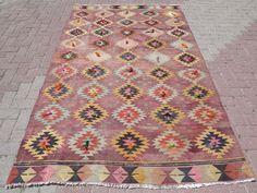 """Turkish Kilim Rugs,Bohemian Rug,Vintage Kilim,Muted 59""""X99,2"""" Area Rug,Carpet #Turkish"""