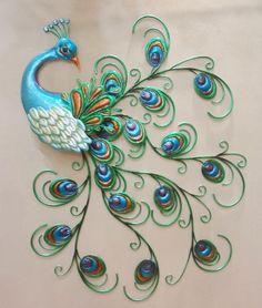 +decor +peacock +metal | Pretty Peacock Wall Art Decor Metal Colorful Hanging Bird Sculpture 30 ...