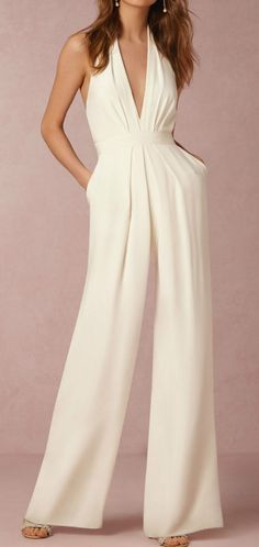 The halter pocket plain wide leg jumpsuit with sleeveless is a good choice of fashion in summer and it suits many formal occasions like fashion show, red carpet and so on. ,jumpsuit outfit work,how to wear jumpsuit,casual jumpsuit outfit fall Elegante Jumpsuits, Halter Jumpsuit, White Jumpsuit, Jumpsuit Outfit, White Romper, Palazzo Jumpsuit, Bridal Jumpsuit, Sequin Jumpsuit, Red Romper