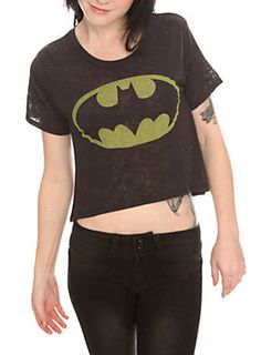 This black burnout top from DC Comics features a faded Batman logo on the front.<ul><li> 50% cotton; 50% polyester</li><li>Wash cold; dry low</li><li>Imported</li><li>Listed in junior sizes</li></ul>