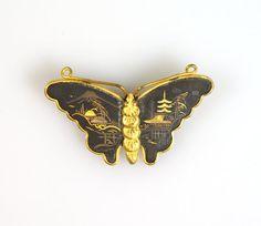 Asian Butterfly Brooch Japan Damascene Mt. by NoneBlackerVintage