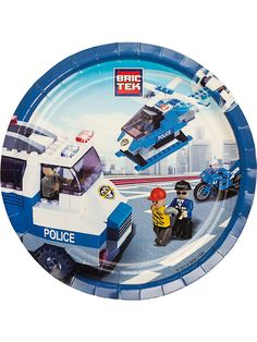 "Bric Tek Police 9"" Luncheon Plates - LEGO Themed Party Supplies"
