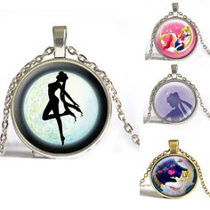 [Min .2pcs] Anime Sailor Moon Pendant Necklace Photo space glass necklace Star Moon christmas gift for Children