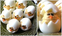 For easter...how cute!!! Baby Chick Deviled Eggs   Deviled Chicks Ingredients:      12 large eggs, hard-boiled and peeled     6 tablespoons mayonaise     2 teaspoons dijon mustard     1 teaspoon pickle relish     4 teaspoons pickle juice     1 teaspoon smoked paprika     chopped olives     carrot