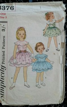 Vintage 1950 s Sewing Pattern Simplicity 3376 Pretty Girl s Dress Size 3 B22