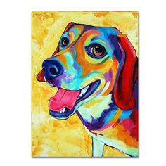 Trademark Fine Art 'Beagle Dog Lucy Lu' Canvas Art by Corina St. Martin, Size: 35 x 47, Yellow