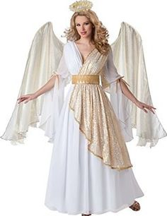 InCharacter Costumes Women's Heavenly Angel Costume, White/Gold, Medium: Chiffon and gold sequin mesh gown, satin belt with venise lace and cord trim, halo and gold metallic lace and organza wings. Nativity Costumes, Angel Halloween Costumes, Christmas Costumes, Adult Costumes, Costumes For Women, Christmas Pageant, Christmas Concert, Santa Costume, Christmas Program