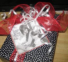 Use an old photo of you and your gift's recipient as the gift tag