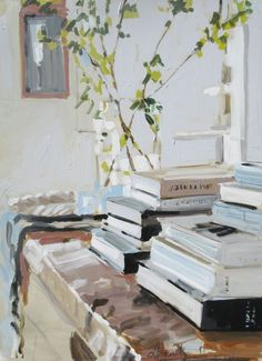"huariqueje: "" House Library - Laura Lacambra Shubert Mixed media on canvas, 40 x 30 in. Painting Still Life, Still Life Art, Painting Inspiration, Art Inspo, Home Libraries, Light Painting, Art Plastique, Beautiful Paintings, Book Art"