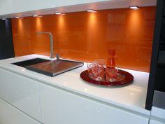 Orange back painted glass kitchen splashback Orange Cabinets, Orange Accent Walls, Independent Kitchen, Orange Color Schemes, Open Plan Kitchen Diner, Back Painted Glass, Bathroom Gallery, Orange Kitchen, Big Chill