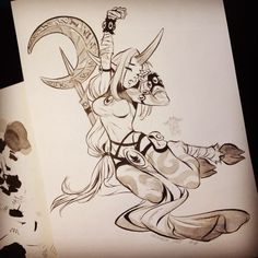 Late but #yawning #soraka #leagueoflegends #inktober2015 #day4